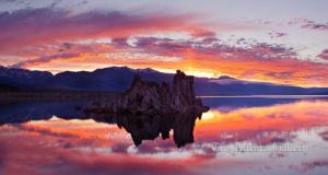 Mono Lake sunset, Sierra Nevada mountain range and tufas, clouds reflected in the still waters of Mono Lake.